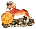 Собака держащая три монеты (цветная)
