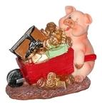 Веселая свинка с тачкой
