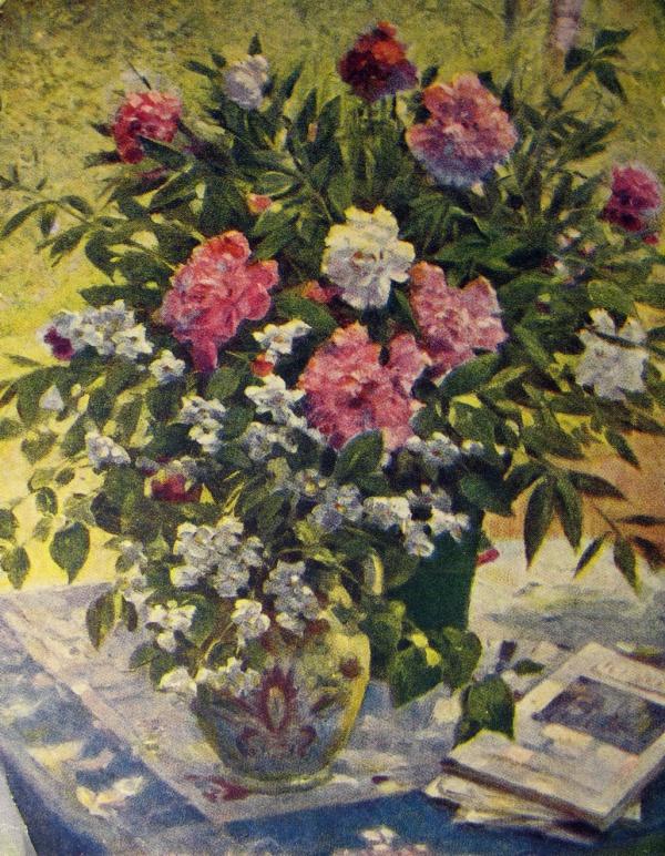 цветок, ваза, букет, листок, книга, стол, пион