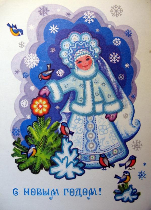снегурочка, птица, дерево, ель, снег