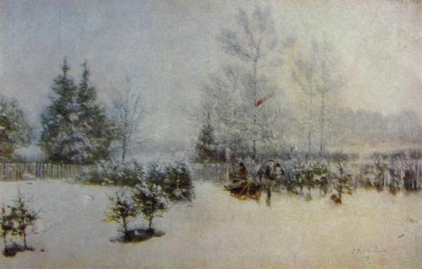 снег, дерево, конь, сани, человек, небо, забор, ель