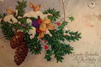 снег, веточка, шишка, ягода, листок