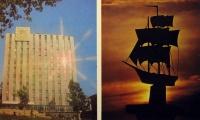 здание, корабль, лучь, дерево, человек, небо, облако
