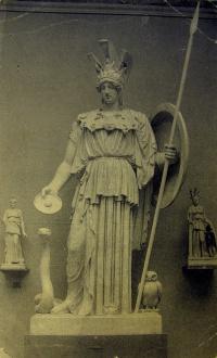 человек, щит, воин, копье, змея, скульптура, птица