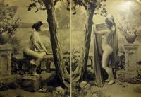 женщина, дерево, ваза, букет, вода, небо