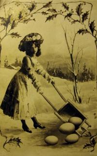 женщина, яйцо, дерево, церковь, тачка, венок, листок