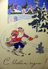 дед мороз, снег, дерево, лыжи, ель, дом, окно, небо