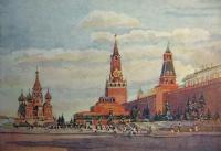 здание, кремль, небо, часы, церковь, купол, дерево, человек, облако, звезда