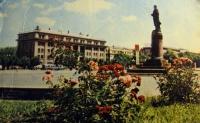 ленин, статуя, цветок, лысый, здание, небо, трава, облако, дерево