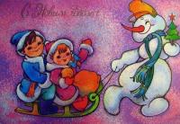 снеговик, дерево, ель, звезда, ведро, морковь, мешок, ребенок, сани