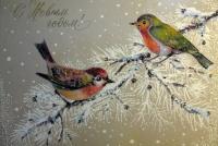 веточка, птица, снег, ель