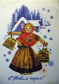 женщина, ведро, дом, снег, дерево, ель, окно, коромысло