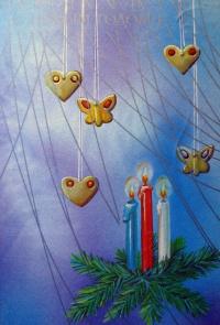 свеча, игрушка, огонь, веточка, ель, бабочка