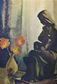 статуя, женщина, ребенок, цветок, ваза, мак
