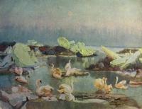 птица, вода, лебедь, лед, камень, небо