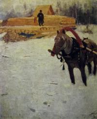 конь, снег, дерево, человек, здание