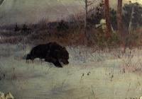 дерево, медведь, небо, трава, человек, оружие