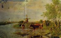 поле, вода, корова, дерево, небо, мельница, парус, трава