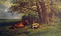 корова, дерево, небо, трава