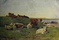 корова, человек, трава, вода, женщина