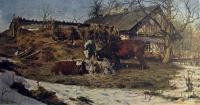 корова, трава, дом, дерево, снег, небо, курица