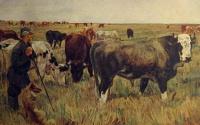 корова, человек, трость, собака, бык, трава, небо, поле