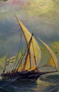 корабль, вода, море, парус, человек, волна, флаг, небо