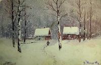 дом, снег, человек, дерево, трость