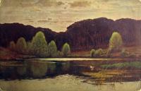 вода, дерево, небо, трава, облако, берег