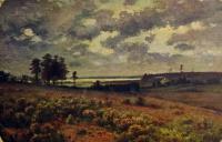 поле, небо, облако, дерево, трава