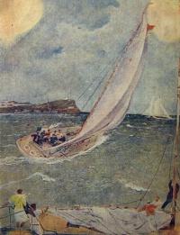 корабль, вода, небо, парус, волна, человек, облако