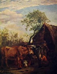 корова, дерево, человек, небо, облако, дом