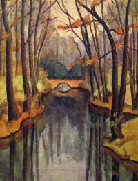 вода, дерево, мост, река, листок, берег
