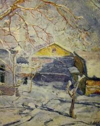 дом, снег, небо, дерево, человек