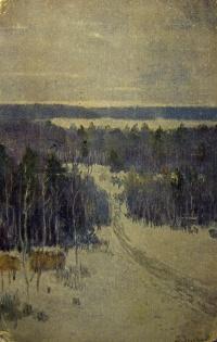 лес, снег, небо, ель, дорога