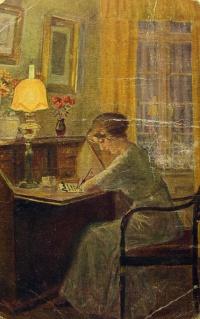 человек, стул, женщина, стол, письмо, ваза, цветок, лампа, картина