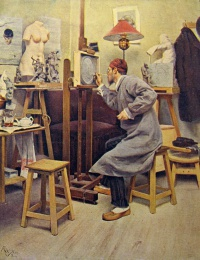 человек, мужчина, стул, мольбер, статуя, картина, лампа, чайник, стакан