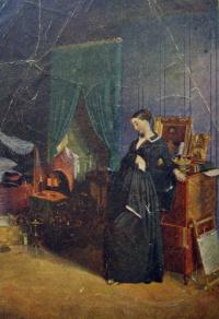 человек, кровать, женщина, картина, стул, свеча, огонь, подсвечник