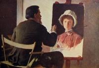 человек, мольберт, картина, женщина, кисточка, стул