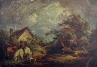 конь, человек, дом, собака, небо, облако, дерево