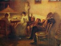 человек, стул, мужчина, женщина, стол, лампа, картина