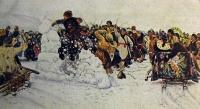 человек, сани, конь, мужчина, снег, небо, веточка, женщина