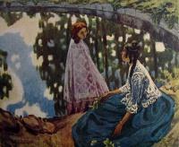 человек, вода, женщина, веточка, листок, камень