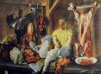 человек, женщина, птица, еда, тарелка, стол