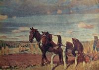 конь, поле, человек, плуг, небо, облако, дерево