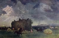 поле, небо, конь, человек, повозка, облако, стог