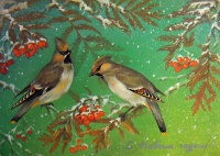 птица, веточка, ягода, снег, лес
