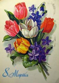 цветок, тюльпан, листок, букет