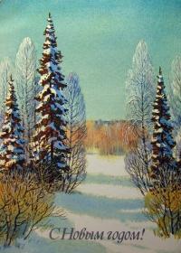 снег, дерево, небо, ель, береза
