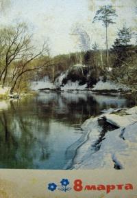 вода, снег, дерево, небо, река, берег, ель